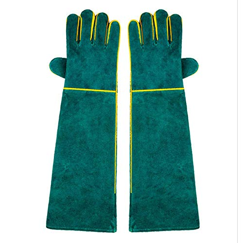Aolvo Tierhandschuhe, kratz- / bissfeste Handschuhe, extra lang, verdicktes Rindsleder, sichere & langlebige Handschuhe für Hunde, Katzen, Vögel, Schlange, Eidechse, Wildtiere, Schutzhandschuhe, grün