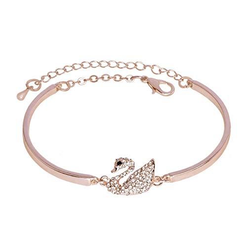 Guuisad Pulsera de Diamantes de imitación Blanca de Swan Blanco, Pulsera de Oro Rosa de Las señoras, para la Madre-Novia (Color : Rose Gold)