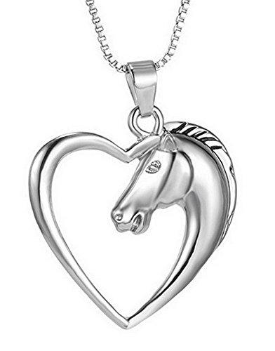 Collana, con ciondolo a forma di testa di cavallo circondata da un cuore, 3 x 3 cm -