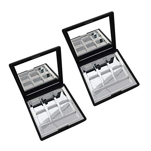 B Baosity 2pcs Compartiments Boîte Palette de Maquillage Magnétique Vide pour Poudre Compact Fard à Paupières Blush Rouge à Lèvres Cosmétique DIY