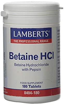 LAMBERTS BETAINE HCL With PEPSIN (An Aid to Digestion) 180 Tablets from Lamberts