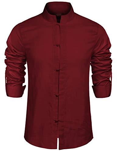 COOFANDY Herren Hemd Hemden Herren Langarm Leinen Freizeithemden Stehkragen Langarm Slim Fit Casual Lässig Shirt Langarmhemd Weinrot XL