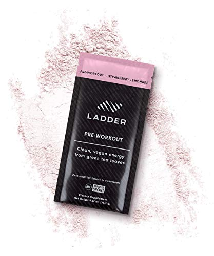LADDER Sport Pre-Workout Strawberry Lemonade - 100mg Caffeine, Beta-Alanine, Citicoline, Creatine, Theanine, No Artificial Sweeteners, 15 On-The-Go Packets, NSF Certified for Sport