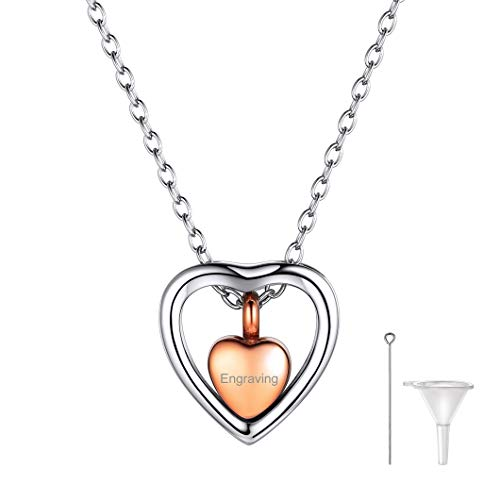 Richsteel Colgante Oro de Rosa Corazón Collar Acero Inoxidable Colgante Cenizas Perfume Flores...