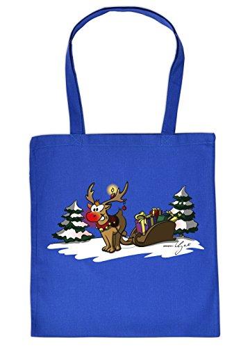 Geschenktasche Weihnachten Baumwolltasche Rentier Schlitten : Royalblau Rudolph The rednosed Reindeer_Tasche_06_YG03904 - Weihnachtstasche mit Urkunde Farbe: Royalblau