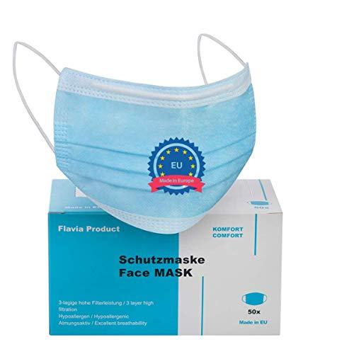 Made IN EU | 50 Stück Einwegmasken mit Nasenbügel | Medizinischer Mundschutz CE Zertifiziert | Geprüfte Schutzmasken | Mund-Nasen-Schutz | 3-lagige Einwegmundmasken | Face mask