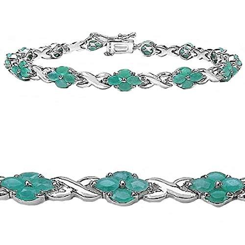 Joyería-Schmidt-elegante de esmeralda (esmeralda) flores-pulsera-52 gemas-5.20 carat
