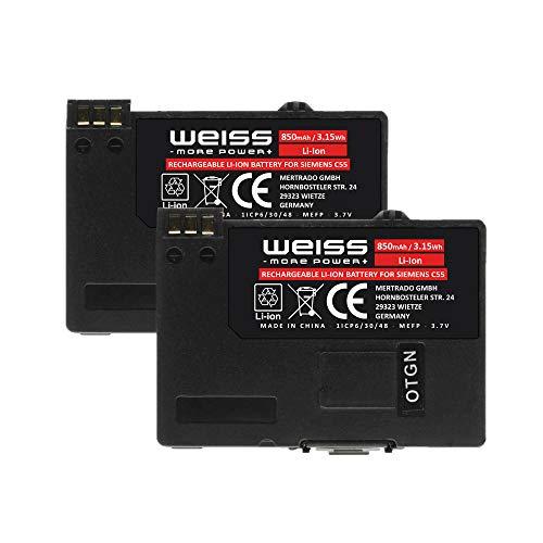 2X Weiss Akku für Siemens C55, A52, A55, A56, A70, A75, C60, M55, MC60, S55, S56, Gigaset SL37H, SL1, SL3, SL55, SL56, SL100, SL150, S440, 850mAh Li-Ion Akku für Handye ersetzt Siemens EBA-510