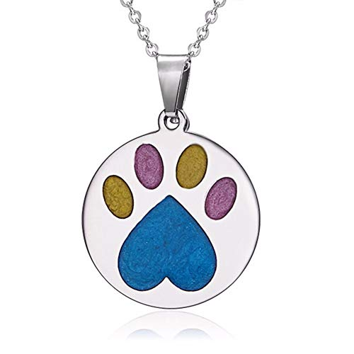 aimaoer Fashion Love Footprints Animal Stainless Steel Color Double-Sided Oil Necklace Beautiful Flower Ornaments, Footprints