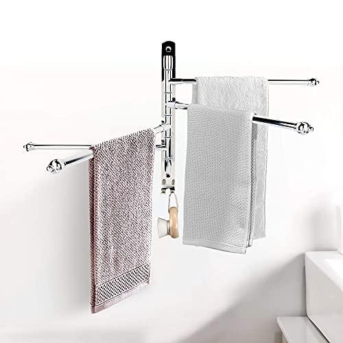 LanScren Swivel Swing Out Stainless Steel 4-Arm Folding Towel Rack