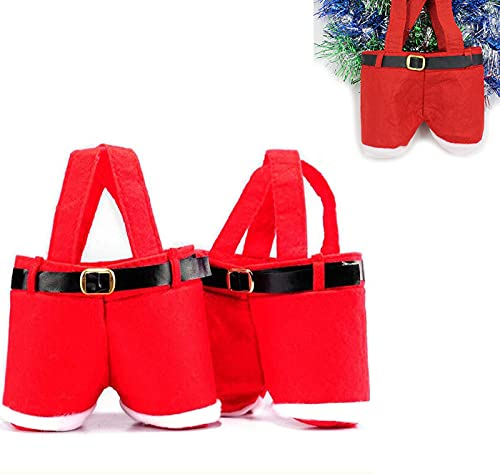 Astinber 2/6 Pack Christmas Pants Gift Bag, Santa Pants Style Bag, Lovely Cute Treat Bags, Stocking Tree Filler Sacks Stocking Xmas Gift for Wedding Children (Small,2Pcs)