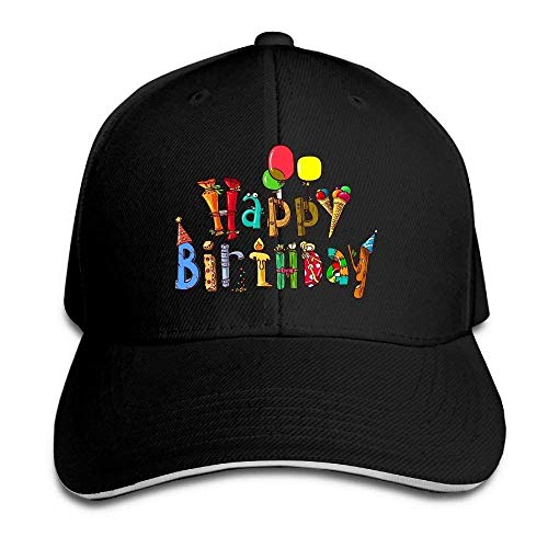New Happy Birthday Funny Pattern Fashion Unstructured Cotton Cap Adjustable Baseball Hat Caps White