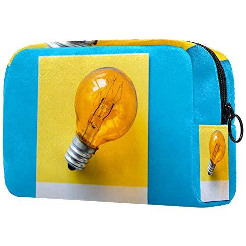 Make-up tas toilettas voor vrouwen blauw gele bol huidverzorging cosmetische handige zak rits handtas