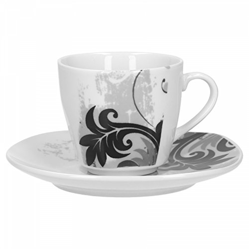 Van Well 2-delig Espressokopjes set Black Flower: 1 kleine porseleinen mok, 80 ml + 1 schoteltje | nobel servies | modern decor | gastronomie