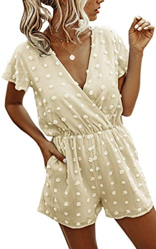 Angashion Women's Rompers-Summer Deep V Neck Wrap Floral Polka Dot Short Sleeve Beach Short Jumpsuit