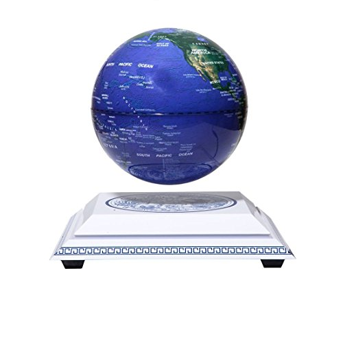"Maglev Magnetic Levitation Levitron Floating Rotating Wireless Induction Light Itself 6"" Blue Globe Chinoiserie Chinese Style Platform Learning Education Home Decor woodlev"