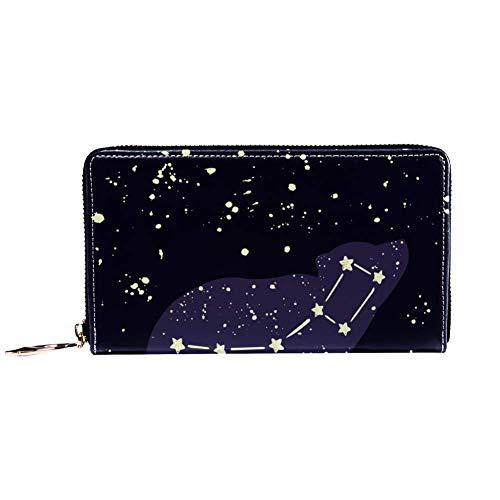 Damen-Geldbörse mit Reißverschluss, kleiner Bär, Sternbild in der Nacht, Sternenhimmel-Muster, Reise-Geldbörse aus Leder