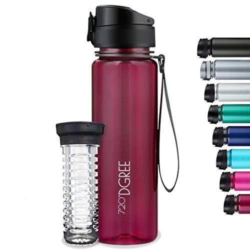 """720°DGREE Trinkflasche """"uberBottle"""" crystalClear +Früchtebehälter - 500ml - BPA-Frei, Auslaufsicher - Für Kinder, Schule, Sport, Fitness - Schmale Tritan Wasserflasche - Leicht, Bruchsicher Nachhaltig"""