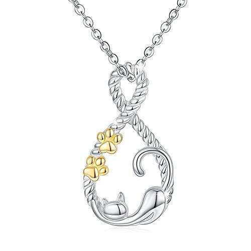 Collar de plata de ley con colgante de infinito con diseño de gato y pata de mascota