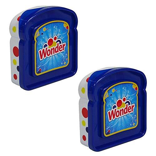 Set of 2 Wonder Bread Blue Sandwich Packer School Work Lunch Boxes