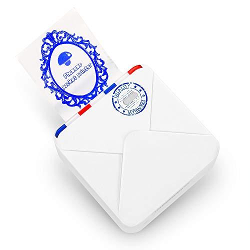 Phomemo M02S Minidrucker Thermofotodrucker Tragbarer Bluetooth Drucker 300 DPI HD Druck für iOS und Andsystem, geeignet für Aufzählungszeichen, Fotodruck, Arbeit, Weiß