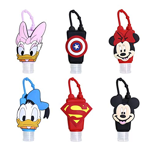 6 pcs Kids Empty Travel Bottle Hand Sanitizer Holder with Spray Bottle for Girls & Boys w/Silicone Case Leak Proof Refillable Travel Containers, Liquid Soap, Lotion
