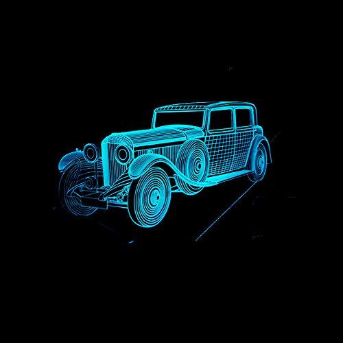 Gepersonaliseerde jongens nachtlampje voor kinderen/baby - kerstcadeaus voor kinderen - 7 kleuren en een kleurveranderende instelling kleurrijke nachtlampjes voor vintage auto's