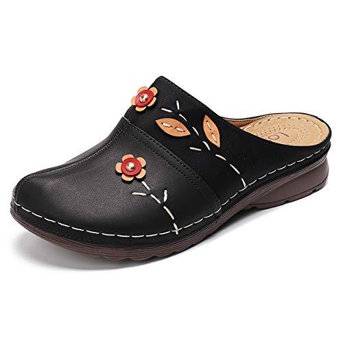 gracosy Zuecos para Mujer Cuero Verano Loafer Tacón Bajo Mules Planos Zapatos...