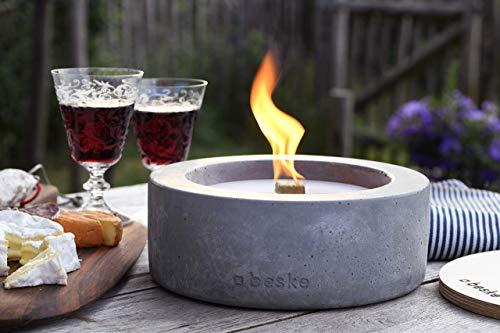 Beske-Betonfeuer mit \'Dauerdocht\' | Ø 24cm Variante 3 | Wiederbefüllbare Gartenfackel | \'Unendliche\' Brenndauer durch Recycling von Kerzenwachs | Tischfeuer Fackel Kerze Outdoor