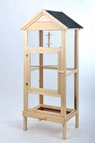 Bird Dream Vogelvoliere, Holzvoliere mit Bitumen-Dach, Maße: ca. 46 x 63 x 160 cm