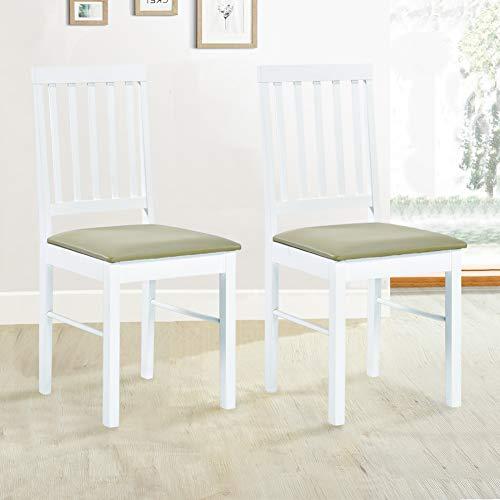 GOLDFAN 2er Set Stuhl Holz Esszimmerstühle Küchenstuhl mit Stuhlkissen Natur Oak 42x46x90cm Weiß