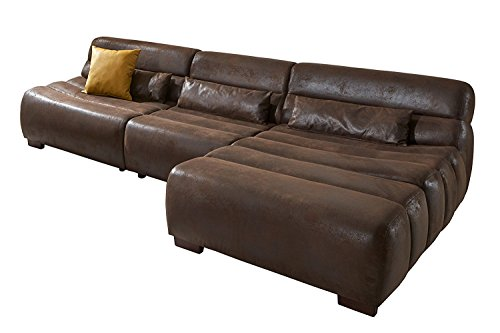 Cavadore Polsterecke Scoutano in Antiklederoptik mit Longchair rechts / L-Form mit XXL Longchair im Industrial Design, 268 x 76 x 170, Bezug in Antik Chocco, Holzfüße in Antik