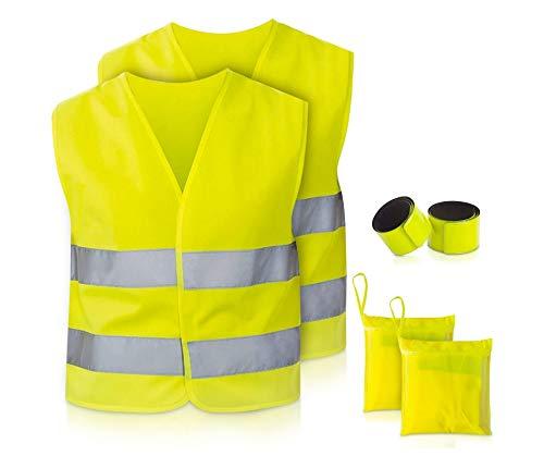TN Sport Premium 2er Pack Warnweste Kinder, Reflektor Weste stark Sichtbar, Sicherheitsweste Warnwesten Kinder ISO Zertifiziert (2er Pack)