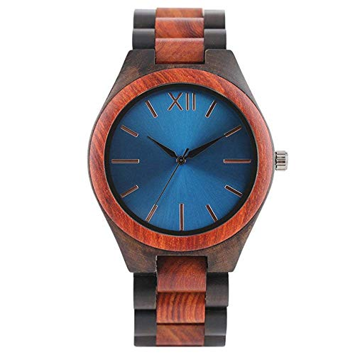 DZNOY Reloj de madera para hombre, reloj de madera completo, negro, azul zafiro, esfera brillante, madera de bambú, cuarzo, reloj deportivo casual (color: azul zafiro)