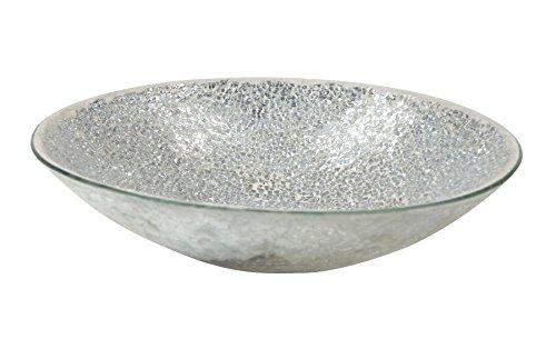 Mosaik-Glas Deko-Schale Silber/hellgrau