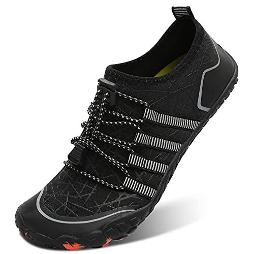 L-RUN Summer Water Shoes Men Women Hiking Aqua Shoes Black Women 12.5, Men 10.5 M US