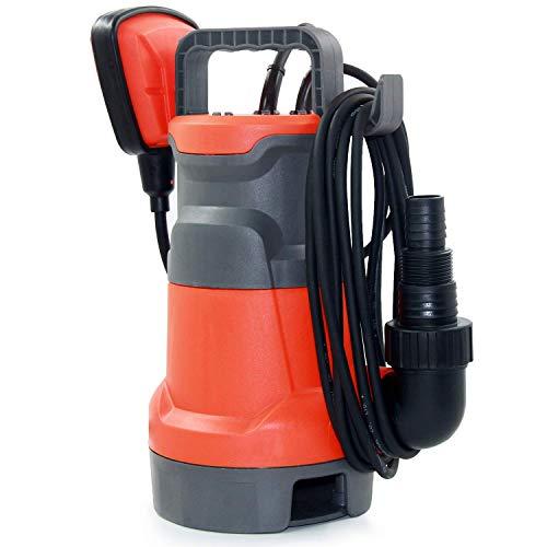 Amazon Brand - Umi Schmutzwasserpumpe 400W 8000l/h Förderleistung, Ø25mm Fremdkörper, mit Schwimmschalter, Tragegriff, Universalanschlüsse, Schmutzwasser Tauchpumpe