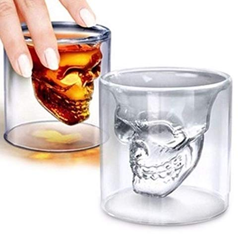DOROCH 1 unids Skull Head Shot Glass Fun Creative Designer Crystal Party Wine Tap 25ml Transparent Beer Steins Halloween Regalo