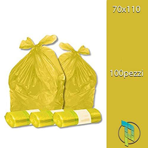 Palucart - Bolsas de basura de color amarillo, 70 x 110 cm, 100 unidades