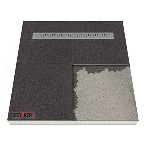 Duschelement mit Rinne Duschboard befliesbar MINERAL BASIC - CASABLANCA 100x100 cm Ablauf KURZSEITE - Edelstahlrinne