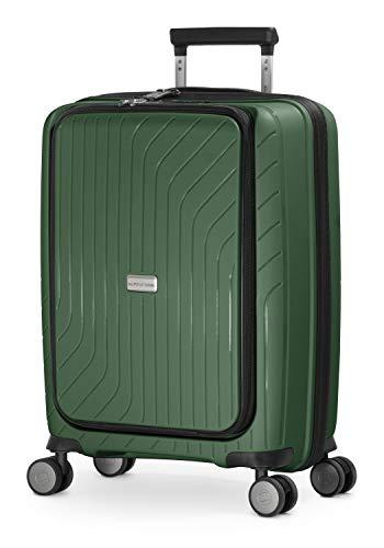 HAUPTSTADTKOFFER - TXL - Equipaje de Mano liviano, maletín con Compartimiento para portátil, Trolley rígido de Polipropileno Resistente, 55 cm, 40 L, Cierre TSA, Verde Oscuro