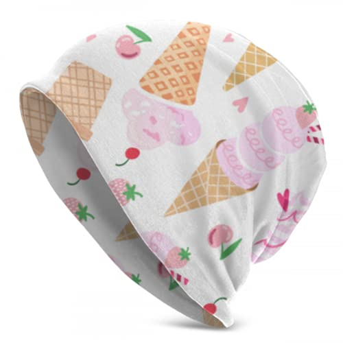 Zemivs Vector Pink Ice Cream Seamless Womens Skull Cap Strickmütze Hut Stricken Skull Caps Für Frauen 3D Gedruckt Erwachsene Comfortbale Soft
