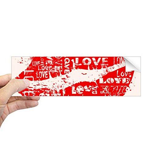 DIYthinker Valentijnsdag Trefwoord Liefde Kus Rechthoek Bumper Sticker Notebook Venster Sticker