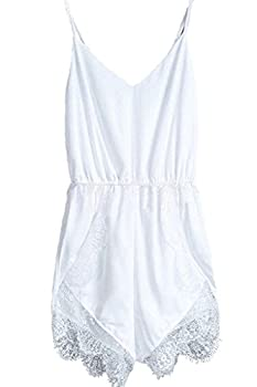 FACE N FACE Women s Lace Chiffon Sleeveless Jumpsuit Rompers XX-Large White