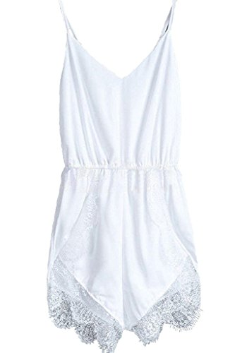 FACE N FACE Women's Lace Chiffon Sleeveless Jumpsuit Rompers Large White