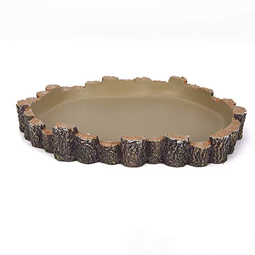 Orchid Valley Reptile Water Bowl, Food Dish. Suit Gecko, Snake, Turtle, Bearded Dragon. Gerbil or Small Hamster Sand Bath. Log Design for Natural Look Terrarium Décor. Two Sizes (Medium)