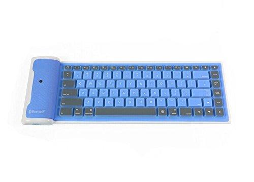 Demarkt Portable Foldable Wireless Bluetooth Keyboard Silicon Waterproof Nimble Flexible Rubber Silicone Bluetooth Keyboard for iPad iPhone Samsung Android Windows Tablet