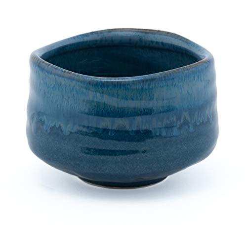 Happy Sales HSMB-LBDBTCB, Japanese Design Traditional Tea Ceremony Matcha Bowl Handcrafted Chawan, Blue