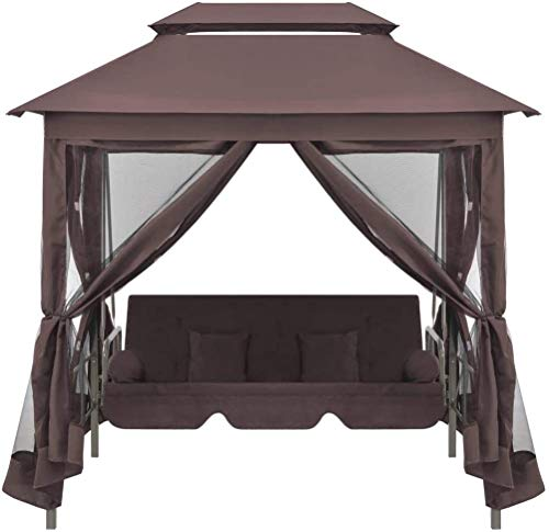 TOPINCN Garden Gazebo, Outdoor Double Roof Gazebo Canopy Tent Patio Gazebos with Swing Chair or Hammock Bed Sun Shade Shelter for Patios Yard Garden or Outdoor Coffee