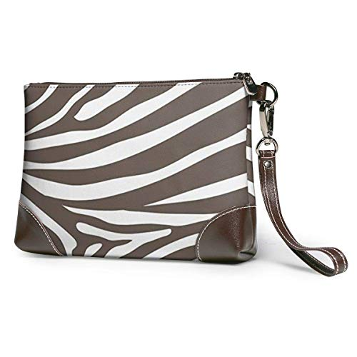 GLGFashion Sac à main en cuir pour femme Brown And White Zebra Print Stripes Animal Cosmetic Bag for Women Adorable Roomy Makeup Bags Travel Toiletry Bag Accessories Organizer